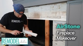 DIY Fireplace Makeover Part Three | AirStone Installation | Remodelaholic