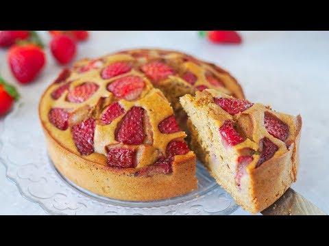 Tarta De Avena y Fresas Muy Fácil