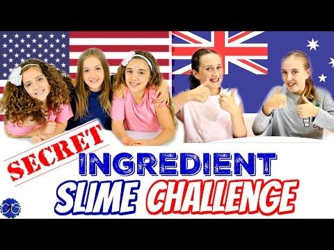 SECRET INGREDIENT SLIME CHALLENGE!  AMERICANS VS. AUSTRALIANS - WITH MILLIE AND CHLOE DIY!