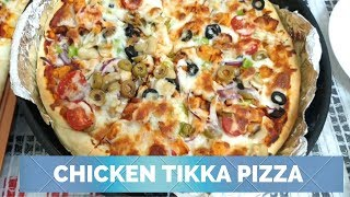 Homemade Pizza Week Day 1: Tikka Pizza with homemade pizza sauce, Green Pasta Salad, Orange Soda