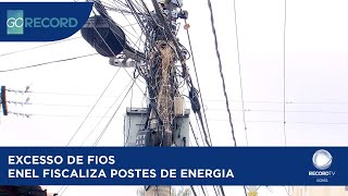 EXCESSO DE FIOS ENEL FISCALIZA POSTES DE ENERGIA
