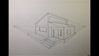 ARCHITECTURAL │How To Draw A Simple Modern House In 2 Point Perspective #15