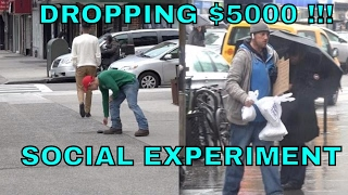 Dropping $5000 Social Experiment (Homeless Man Most Inspirational Act!)