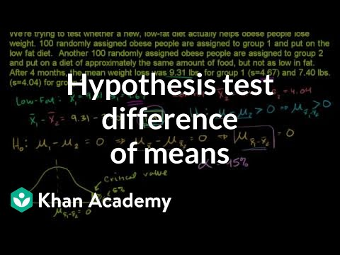 Hypothesis test for difference of means (video) Khan Academy