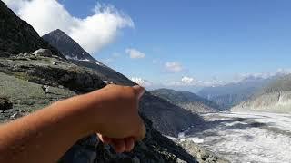 Traumblick vom Aletschgletscher bis zum Matterhorn und Monte Rosa