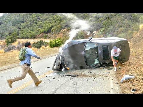 Car Crashes Hard Into Hillside - 4K UHD