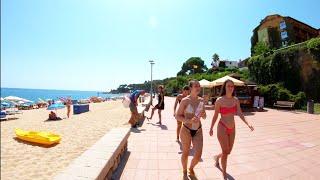⁴ᴷ Walking Fenals Beach, Lloret De Mar, Costa Brava, Spain 4K