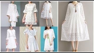 Casual Women White Dress=Pretty White Lace Dresses=Cute Simple Dress Ideas 2019-20