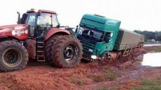 Vehiculos en Barro: Tractor, grúa, camión, coche. Video para niños Tractors Stuck in Mud 2017