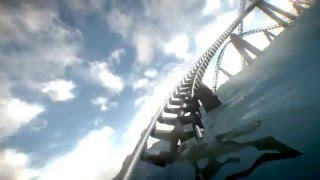 Underwater Roller Coaster suspended over the sea: 2D version