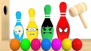 Colors for Kids to Learn With Bowling Balls Wooden Xylophone Hammer for Children - Colours for Kids