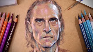 Drawing Joaquin Phoenix With Colored Pencils On Kraft Paper | DEMO | Step By Step