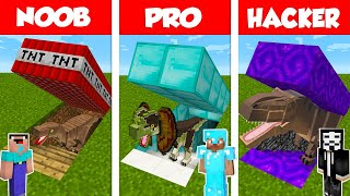 Minecraft NOOB vs PRO vs HACKER: SECRET DINOSAUR BASE CHALLENGE in Minecraft / Animation