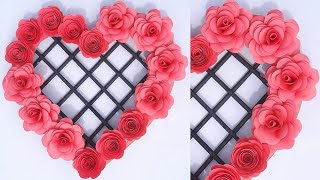 Diy Paper Flowers Home Decor Craft/Origami Flower Rose Wall Hanging/Homemade Origami Hearts Wall Art