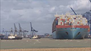Shipping Special!! Marie Maersk arriving in a force 7 gale with 4 tugs  3rd August 2017