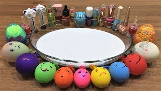 MIXING MAKEUP AND FLOAM INTO GLOSSY SLIME ! RELAXING SLIME WITH BALLOONS