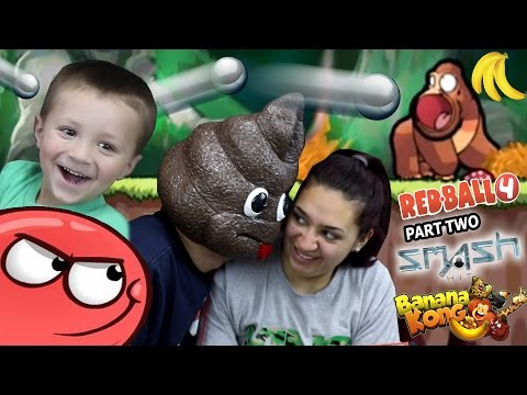 a POOPY HEAD Plays Games!  Redball 4, Banana Kong & Smash Hit (FGTEEV FAMILY GAMEPLAY)