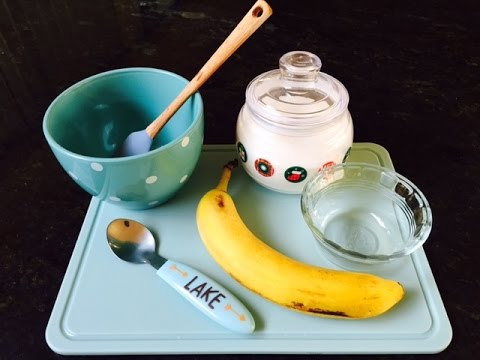 Carlyle makes desert (Sweet Banana Sour Cream)!! Easy Desert Recipe 4 Kids!