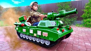 Senya Playing with Power Wheel Tank Funny Story about TANK