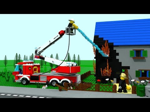 Svens House on Fire!!! Lego City Firestation Cartoon for Children, Kids