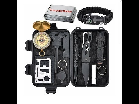 Emergency Survival Kit 11 in 1 – Outdoor survival gear tool with survival bracelet.