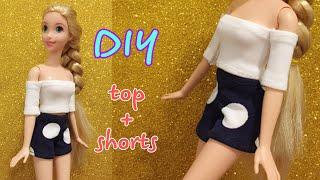 Barbie Rapunzel Clothes   DIY For Dolls -TOP And SHORTS  #dolls #barbie #happydolls