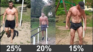 Body fat - 25% vs 20% vs 15%