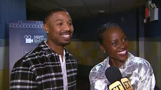 Michael B. Jordan and Lupita Nyong'o Tell Hilarious Story of Falling During Globes Elevator Shoot…