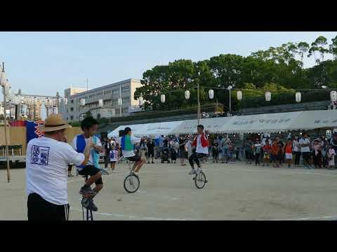 2019 08 04 西原公園夏祭り2 八田荘小学校一輪車クラブ 2.5m一輪車・なわとびなど