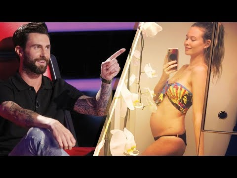 'The Voice' Coach Adam Levine & Wife Behati Prinsloo Reveal Baby #2 With Bump Photo Mp3