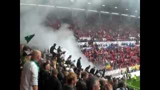 preview picture of video 'Gladbach Fans Feiern in Mainz mit der Manschaft  + Pyrotechnik'