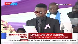 Ted Abonyo reads Governor Laboso's eulogy during her Burial in Fort Ternan