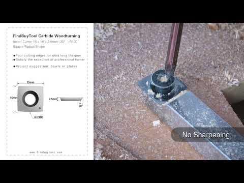 FindBuyTool Cortador de inserto de torneado de madera de carburo 15 x 15 x 2,5 mm-30 ° -R100 Forma de radio cuadrado