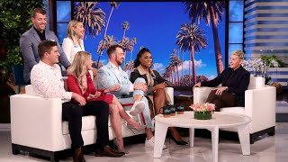 "Ellen welcomed three couples from the hit Netflix show ""Love Is Blind"" – Lauren and Cameron, Amber and Matt, and Giannina and Damian. They talked about what the future holds for them and their relationships, how one person was cast on the series thanks to Tinder, and a possible ghost living in one of the couple's houses!  #LoveIsBlind #TheEllenShow #Ellen"