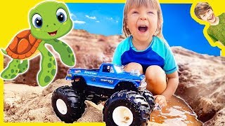 New Bigfoot Monster Truck With Sea Turtles at the Beach