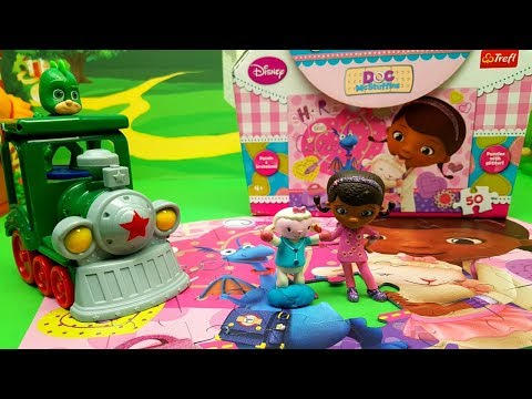 Gecco dei Pj Masks spiega a Dotti e Bianchina come fare il puzzle - Episodio con bambole e giochi
