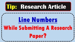 How To Add Line Number In MS Word? Skills For Writing Research  Article/Paper