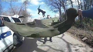 Смотреть онлайн Американские полицейские поймали котенка с помощью одеяла