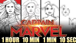 Drawing CAPTAIN MARVEL & GOOSE in 1 HOUR, 10 MIN, 1 MIN & 10 SEC - And WINNERS REVEALED!