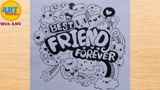 Best Friend Forever Doodle Art | #BFF Doodle Drawing | Bff Doodles | Happy Friendship Day