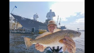 EPIC Redfish Fishing Near Military Battleships - Catch and Cook