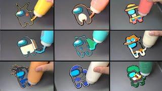 Among us Pancake art - pokemon ver, dragon ball ver, one piece ver