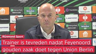 Slot blij dat Feyenoord kansen afmaakte tegen Union Berlin: 'Al moeten we er nog meer benutten'