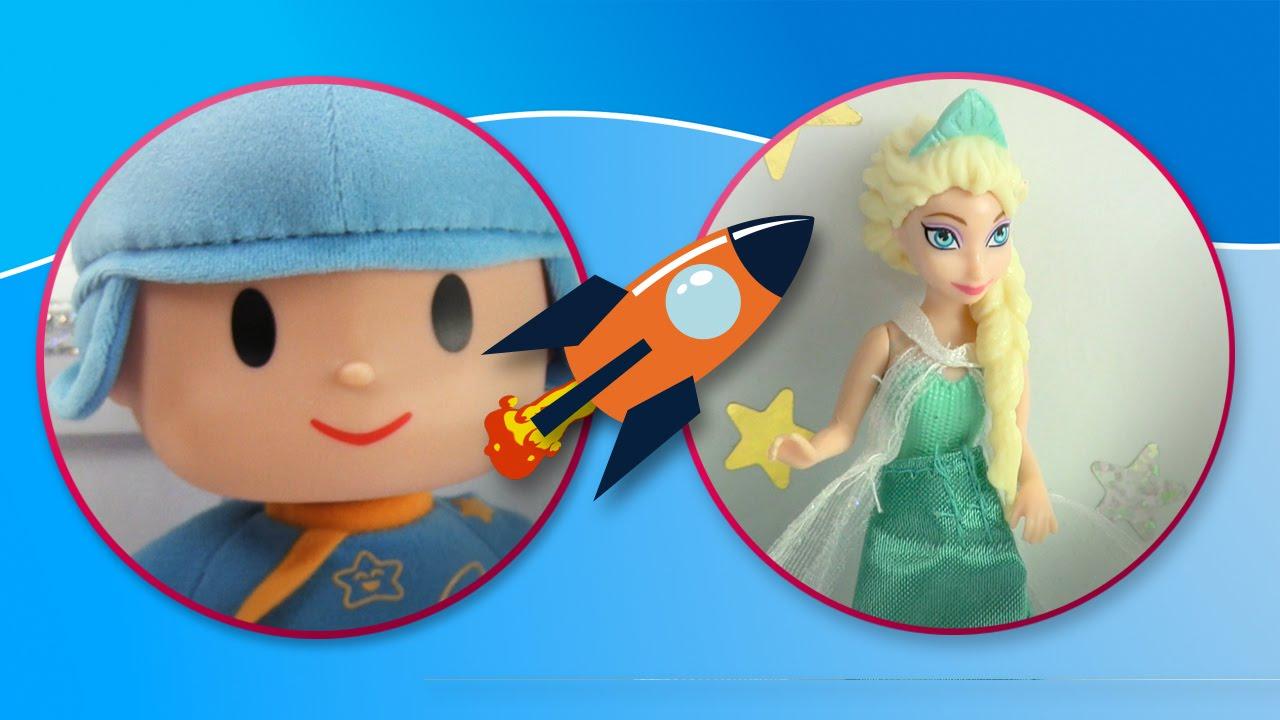 Pocoyo y Elsa de Frozen juegan con el cubo de Fisher Price