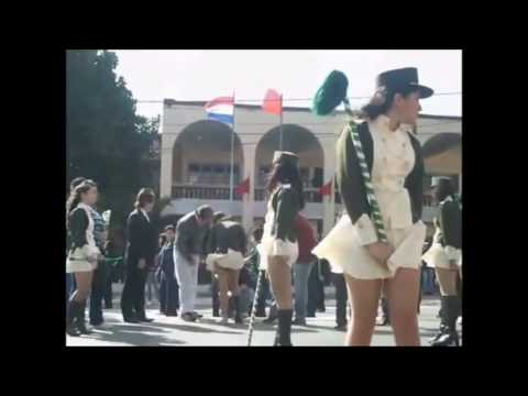 Cheerleaders   parade under strong wind. Funny accidental exposure