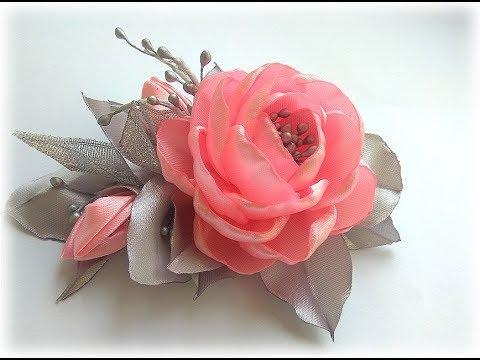 Цветы из атласных лент Зажим для волос Канзаши МКDIY
