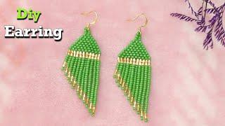 How To Make Seed beads Fringe Earring | Trendy | Fashion Earring #HowTo #Diy #Earring #Seedbead