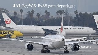JAL B77w+B788 gate departure@LAX