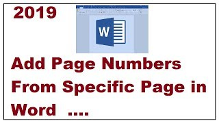 Add Page Numbers From Specific Page in Word