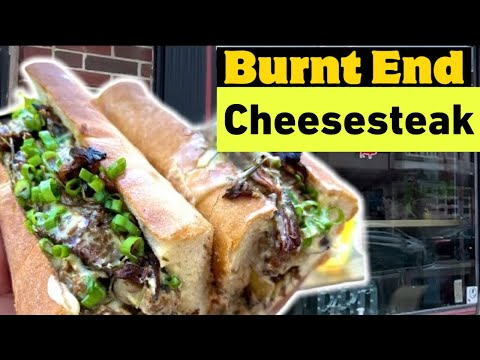 INSANE Burnt End Brisket Cheesesteak Smothered In Rosemary Cheese Sauce